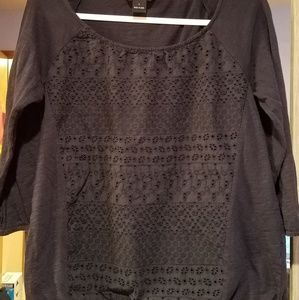 Lucky Brand Navy Blue L Top with Eyelet Panel